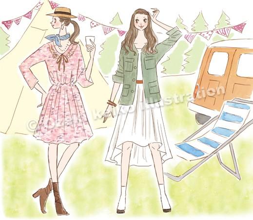 グランピングファッション女性イラスト