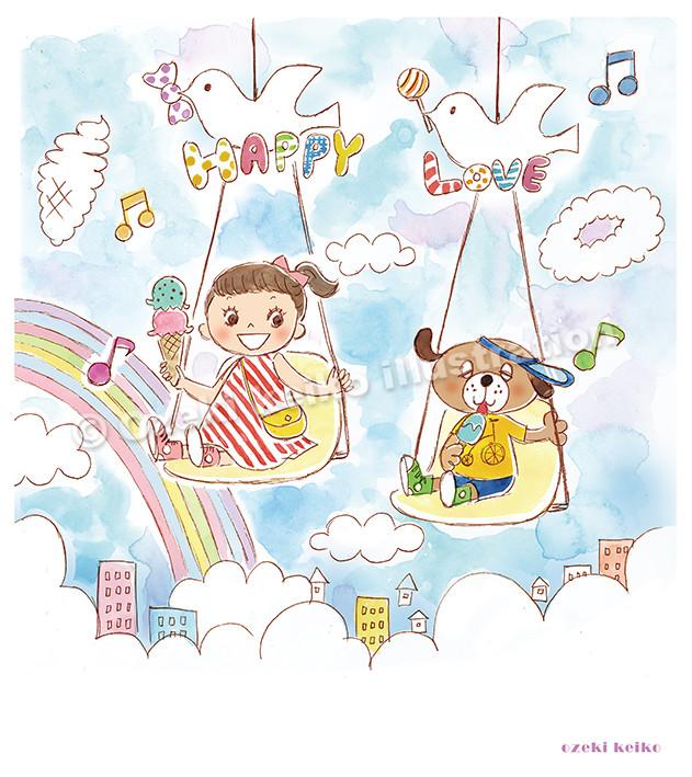 ワンコと女の子イラスト