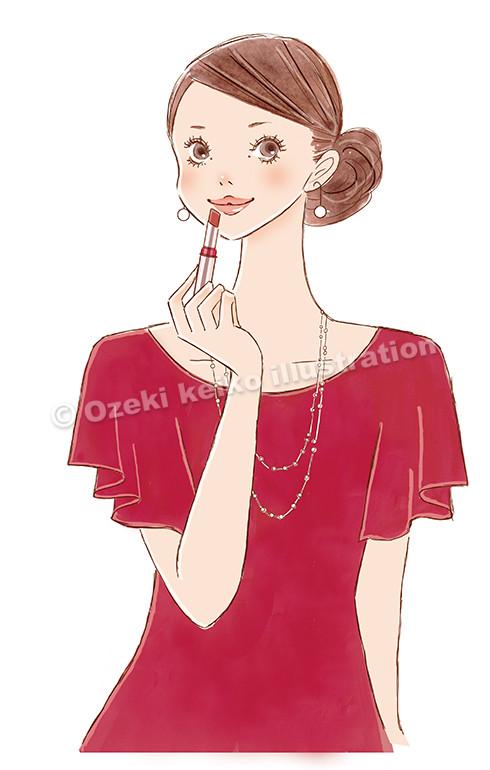 口紅をつける女性イラスト
