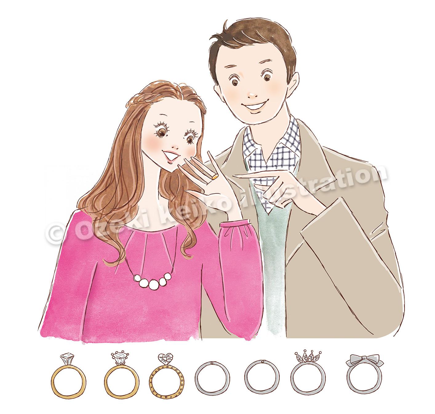 指輪を選ぶカップルイラスト