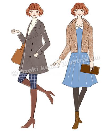 秋ファッション女性イラスト