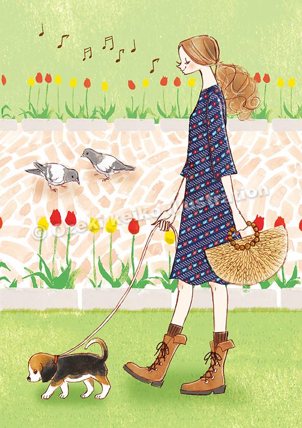 犬の散歩女性イラスト