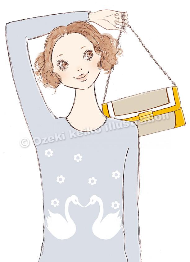 チェーンバッグを持った女性イラスト