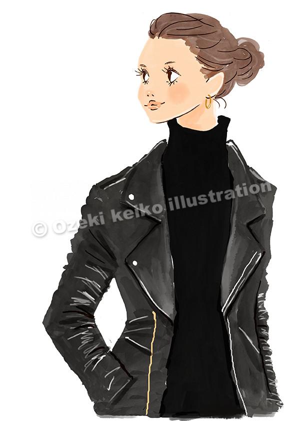 ライダースジャケットを着た女性イラスト イラストレーター小関恵子の仕事帖 関西在住 大阪 京都 兵庫 滋賀